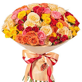 Букет из кустовых оранжевых роз