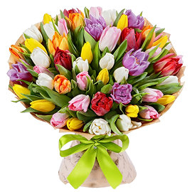 Букет из розовых тюльпанов