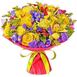 Букет из желтых 70 сантиметровых роз