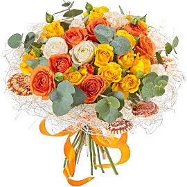 Букет из кустовых желтых роз