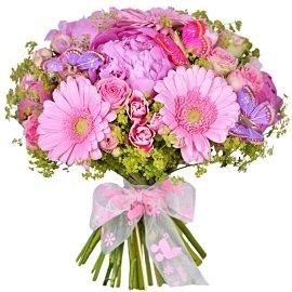 Букет из кустовых розовых гвоздик