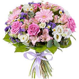 Букет из розовых альстромерий