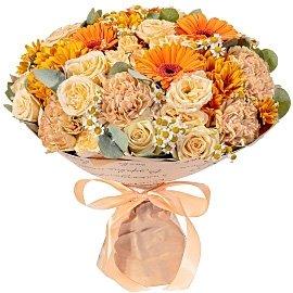 Букет из кустовых кремовых хризантем