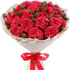 Букет из кустовых французских красных роз