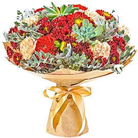 Букет из красных хризантем Сантини
