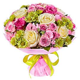 Букет из кустовых розовых роз