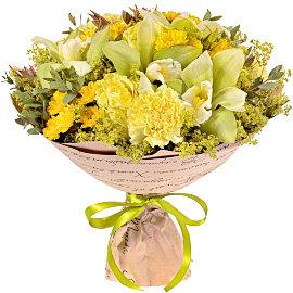 Букет из зеленых орхидей Цимбидиум