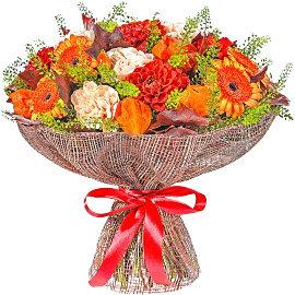 Букет из одноголовых красных хризантем