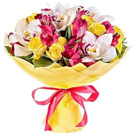 Букет из белых орхидей Цимбидиум