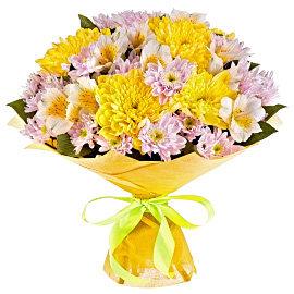 Букет из одноголовых желтых хризантем