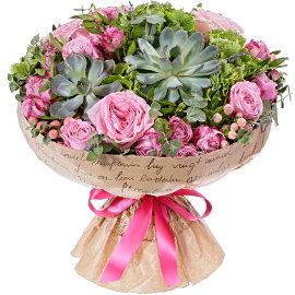 Букет из розовых гиперикумов