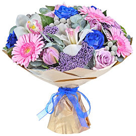 Букет из голубых роз 50 см