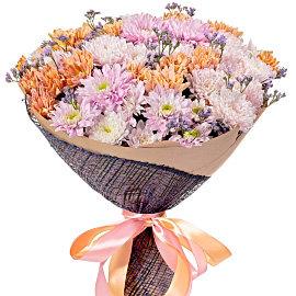 Букет из кустовых розовых хризантем