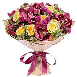 Букет из бордовых орхидей Цимбидиум