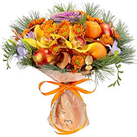 Букет из кустовых оранжевых хризантем