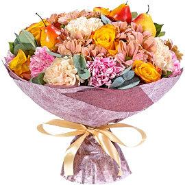 Букет из оранжевых 70 см роз