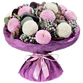 Букет из Хризантема одноголовая шаровидная розовая