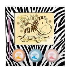 """<h4>Шоколадная раскраска """"Зебра""""</h4><br/> <p>Шоколадная раскраска """"Зебра"""" станет очень оригинальным и творческим дополнением к букету! Этот чудесный набор состоит из полотна белого шоколада и специальных шоколадных красок, которыми можно расписать этот забавный трафарет. Готовую картинку можно съесть или сохранить её на память.Вес подарка 190 гр.</p>"""