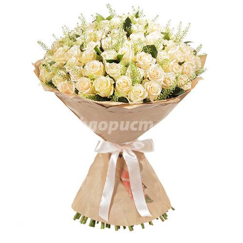 51 и 101 Элитная Кремовая Роза