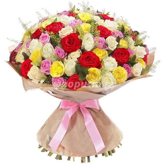 51 и 101 Элитная Разноцветная Роза