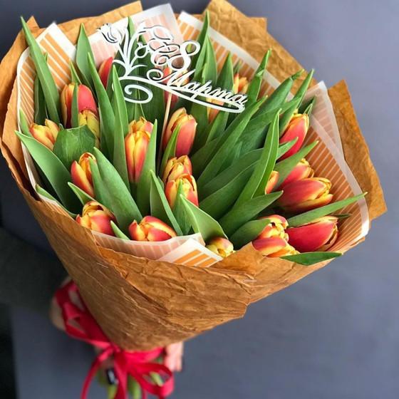 Букет из 25 солнечных тюльпанов