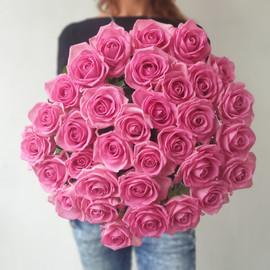 Шикарный букет из 35 розовых роз