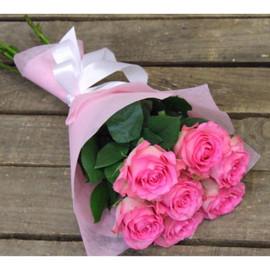 7 розовых роз Эквадор 70 см
