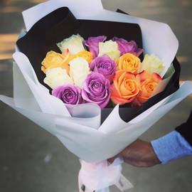 """Букет """"15 разноцветных роз"""""""