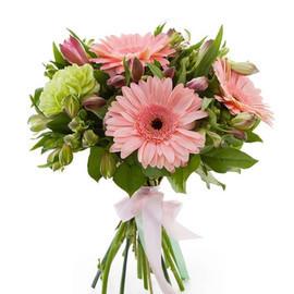 Букетик с розовыми герберами