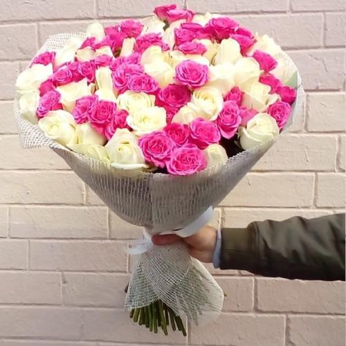 Букет из 51 розы Малинка