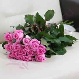 15 розовых роз Ревиваль 60 см