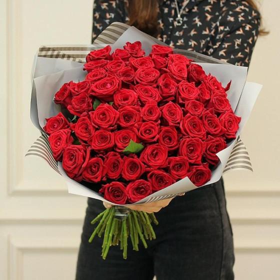 51 бордовая роза в матовой пленке