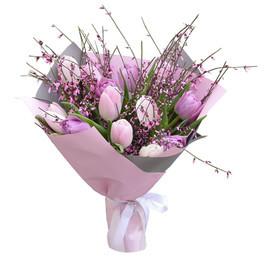 букет с розовыми тюльпанами с генистой
