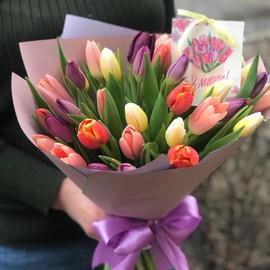 Охапка из 35 разноцветных тюльпанов