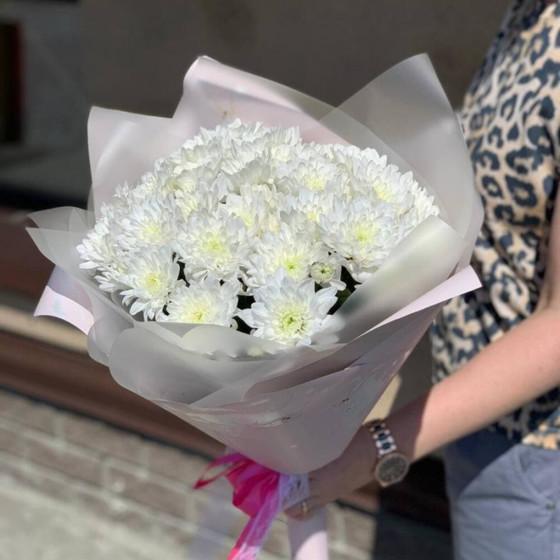 Монобукет белоснежных Кустовых Хризантем