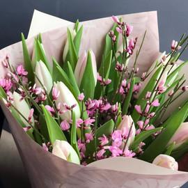 Тюльпаны и ароматные веточки дженисты