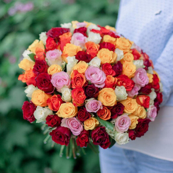 Букет из 101 розы «Кения» микс