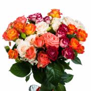 """Букет """"15 разноцветных кустовых роз"""""""
