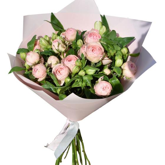 """букет из пионовидной розы и альстромерии """" Все просто"""""""