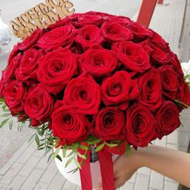 Цветы в шляпной коробке 35 роз