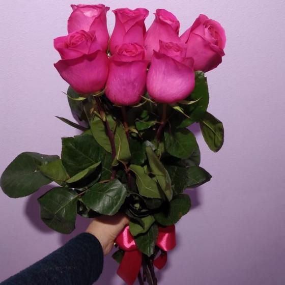 7 Розовых роз Эквадор