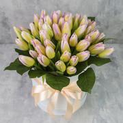 Коробка из 51 тюльпана «Нежно-розовые тюльпаны»