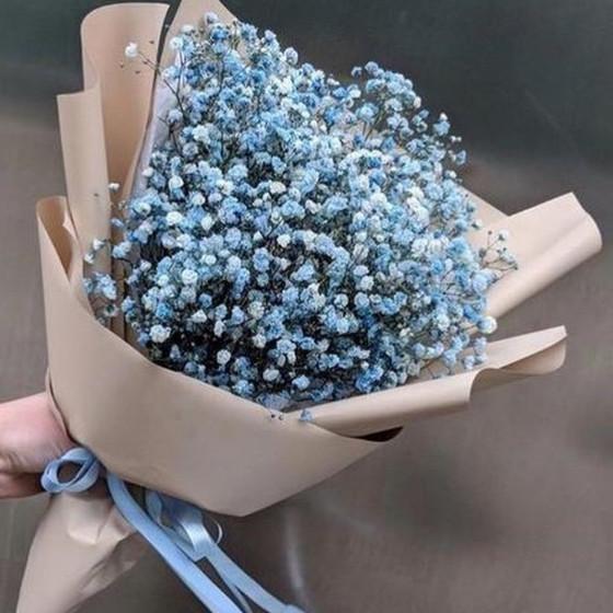 Букет из 5 веток голубой гипсофилы