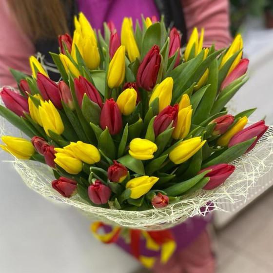 Букет 51 Шикарных тюльпан «Твои любимые тюльпаны»