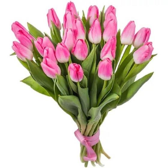 Букет из розовых тюльпнов